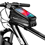 Rexphil Bike Phone Mount Front Frame Handlebar Bags, PU Waterproof Top Tube Storage Zipper Cycling Bag with Touch Screen Fits iPhone X XS Max XR Include 15 in One Multifunctional Bicycle Repair Tool