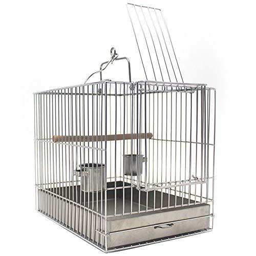 Reizen Vogelkooi, Hangende Vogel Neem Een Bad Kooi Roestvrij Staal Papegaaienkooi Met Voerbeker En Stokstok,L
