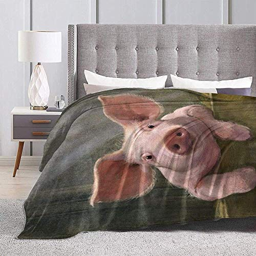 DWgatan Couverture,Jeté de lit Super Chaud en Polaire Easy Care,100% Polyester léger canapé Confort Enfants, Chambre à Coucher,Cute Pig Printed Blanket for Bedroom Living Room Couch Bed Sofa -50\