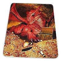 マウスパッド 赤い竜と金貨 黄金 ゲーミングマウスパット デスクマット 最適 高級感 おしゃれ 滑り止めゴム底 防水設計 複数サイズ
