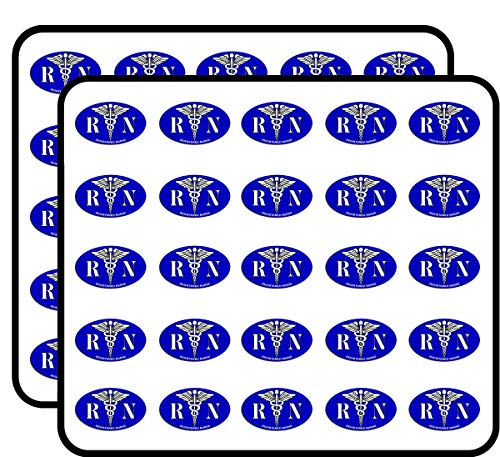 Blue Oval RN Registered Nurse Caduceus Logo -Nursing er Medical Sticker for Scrapbooking, Calendars, Arts, Kids DIY Crafts, Album, Bullet Journals 50 Pack