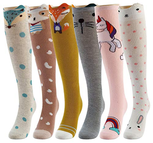 Girl Cartoon Animal Cat Bear Fox Cotton Over Calf Knee High Socks 6 Colors,One Size SET I