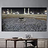 Islamic Muslim Pilgrims Praying in Crowd Painting On Canvas Religious Picture for Living Room Frameless A 60x100cm