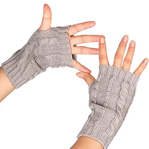 Dragonaur Handschuhe, bequem, einfarbig, halber Finger, Daumenloch, gestrickt, für den Winter