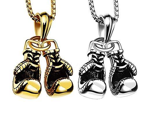 Longsing Boxhandschuh Halskette Boxhandschuh Anhänger Halskette Edelstahl Halskette mit Kette, (Gold, Silber) DZ