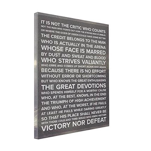 wonbye Canvas Wrap Prints It is Not The Critic Who Counts. Quote Canvas Print, Art Wall Decor 8 x 10 Inches