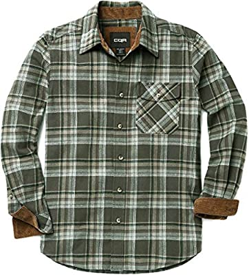 CQR Men's All Cotton Flannel Shirt, Long Sleeve Casual Button Up Plaid Shirt, Brushed Soft Outdoor Shirts, Corduroy Lined(hof110) - Juniper, Large