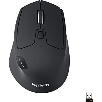 Logitech M720 Triathlon Mouse Wireless, Multidispositivo, Bluetooth e 2.4 GHz con Ricevitore USB Unifying, 1000 DPI, 8 Pulsanti, Durata Batteria Fino a 24 Mesi, PC/Mac/Laptop/iPadOS, Nero (Grafite)