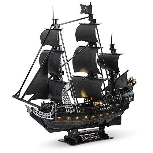 Puzzle Karibik Black Pearl Piratenschiff - Cut Holz 3D Puzzle Adult Model Kit Kreative Valentine/Jungen und Mädchen zum Geburtstag (Color : with Light)