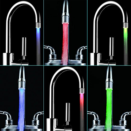 Bunte LED-Wasser-Hahn, Dland RC-F03 bunten LED-Licht-Wasser-Strom-Hahn-Hahn mit 3 Farbmodelle für Küche und bathroms -. Völlig 7 Farben (2ST-Hähne und 2 Adapter pro Beutel) - 7