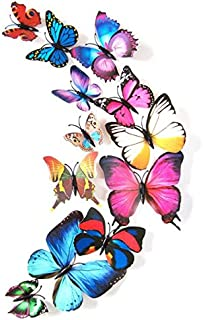 Guo Nuoen Sticker Art Design Decal Glass Wall Door Window 3D Stickers Colorful Wedding Party Home Decorations 12 Pcs (Colorful)