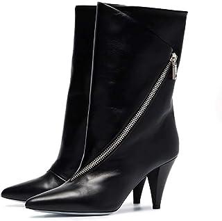 Angelay-Tian Botas cortas de las mujeres,de microfibra grueso tubo en punta de estilete botas cortas,transpirable,antidesl...