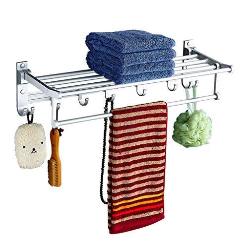 Soporte de Toallas Soporte de Toalla Plegable Creativo Espacio de Aluminio montado en la Pared Toalla de Pared Estante del Hotel Home Estante del Hotel con 7 Ganchos Baño Accesorio Towel Rack