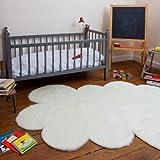 Pilepoil Tap-NUA-BL-GF - Alfombra Infantil en Forma de Nube (Piel Artificial), Color Blanco
