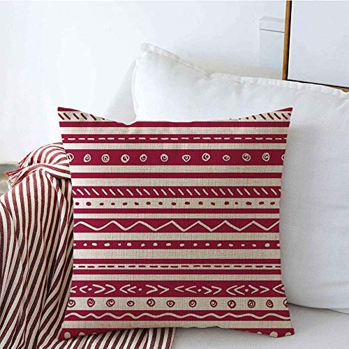 NA Decorative Throw Pillow Covers Linen South Pattern Hand Stripes Line Print Poncho Wine Repeat Straight Abstract Textures Graphic Stripe Cushion Pillow Case for Couch Sofa 18x18 Inch