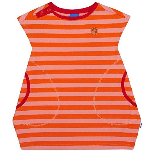 Finkid Mansikka carrot coral Mädchen Jersey Sommer kurzarm Tunika mit Blockstreifen