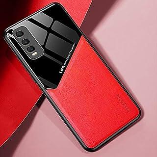 電話ケース 金属製の鉄板とin vivo y70sの +有機ガラスの携帯電話ケース (Color : Red)