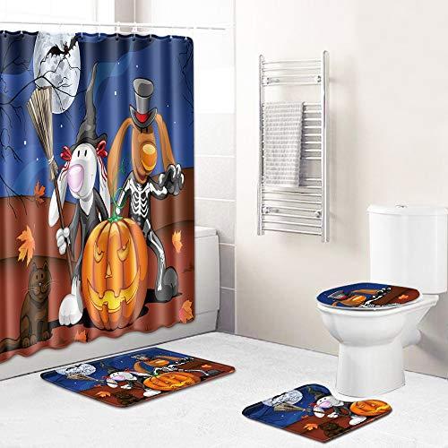 WEIFENG Europäische und amerikanische Außenhandel Halloween WC-Set vierteilige Badezimmermatte Wohnzimmer Schlafzimmer Teppich grenzüberschreitend 297 50 * 80 cm + 180 * 180 cm