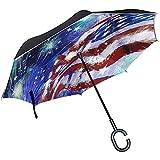 Elxf Paraguas invertido Fondo Personalizado del Día de la Independencia Paraguas inverso de Doble Capa, Protección contra los Rayos UV Paraguas Grande y Recto