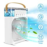 AuLink Personal Air Cooler USB Desk Fan Evaporative Cooler Humidifier with Timer, Aroma Diffuser, 7 Colors LED Light, 5 Sprays, 3 Wind Speeds for Room Travel Office