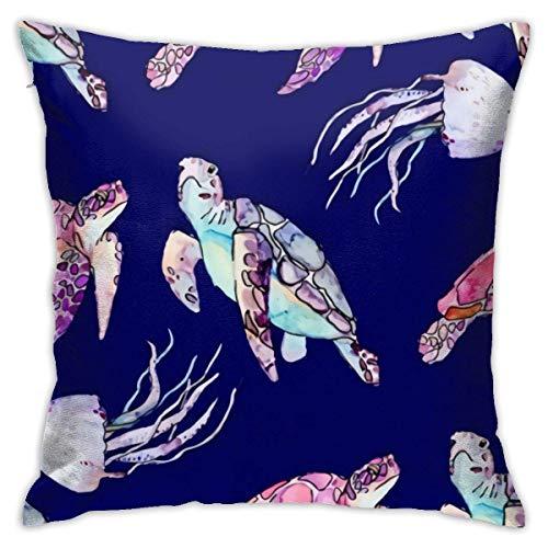 Funda de almohada de microfibra ultra suave Funda de cojín de almohada de tiro de medusa de tortuga marina de dibujos animados 18x18 en Fundas de almohada decorativas para el hogar cuadradas suaves
