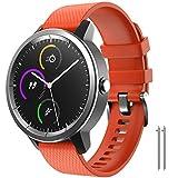 NotoCity para Garmin Vivoactive 3 Correa, Banda de Repuesto de Silicona Suave de 20 mm para Garmin Forerunner 245 / Samsung Gear Sport/Galaxy Watch 42 mm(S,Naranja)