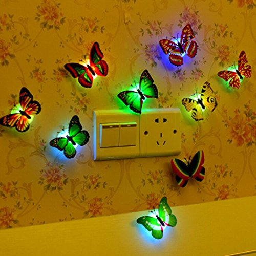 (6PCS) Butterfly Lights,Flashing Colorful 3D Butterfly Wall Stickers for Girl Bedroom Baby Kids Toy Gift, Creative LED Small Lamp Night Light Stickers for Christmas Party Home Decor Room Decoration