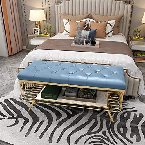 CHL Banco Pie de Cama Moderno Banco Zapatero Multifuncional Reposapies Salon Banquetas para Dormitorio con Cojin de Cuero (Color : Sky Blue, Size : 100x35x45cm)