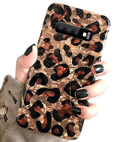 J.west Galaxy S10 Plus Case, Samsung Galaxy S10 Plus Case Luxury Sparkle Glitter Brown Cheetah Print Pattern Slim Clear TPU Soft Rubber Silicone Protective Phone Case Cover (Leopard)