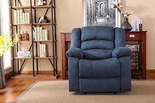 Best NHI Express Addison Large Contemporary Microfiber Recliner, Blue