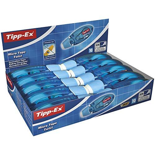 Tipp-Ex Cinta Correctora Blanca de Bolígrafos, Óptimo para material escolar,Micro Tape Twist, 8m x 5mm, Con Cabezal Rotativo, Caja de 10