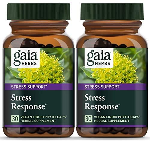 Gaia Herbs Stress Response, Vegan Liquid Capsules, 30 Count (Pack of 2) - Natural Stress Relief & Adrenal Fatigue Supplement, Calming Formula with Rhodiola, Ashwagandha, Holy Basil