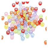 AILIDON 100 cuentas decorativas de 7 mm de mezcla redonda para hacer joyas, pulseras de bricolaje, initales, cuentas de alfabeto acrílico, accesorios XA904 (color: 100 piezas MW)