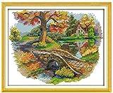 Kits de punto de cruz contados -Hermoso puente 40x50cm- Kit de bordado a mano con patrón de punto de cruz Diy Kit de bordado impreso Set decoración del hogar