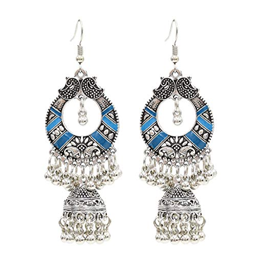dongguan NUEEUDD Aretes étnicos Indios Tradicionales Bali Jhumka Jhumki Gypsy Dangle Earrings Blue