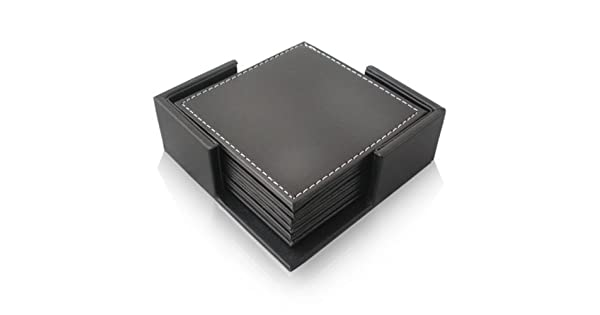 Square Coaster Size 4 x 4 Inch E.Morningstar PU Leather Drink Coasters Table Mats with Holder for Cup Glass Tableware Set of 6 Black