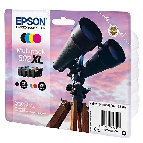 Epson Original 502XL Tinte Fernglas, XP-5100 XP-5105 WF-2860DWF WF-2865DWF, Amazon Dash Replenishment-fähig (Multipack 4-farbig), Standard, Normalverpackung