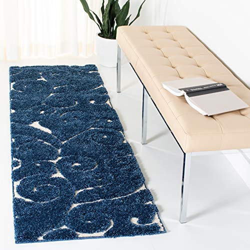 Safavieh Florida Shag Collection SG455-6511 Scrolling Vine Graceful Swirl Textured 1.18-inch Thick Runner, 2' 3' x 7', Dark Blue/Cream