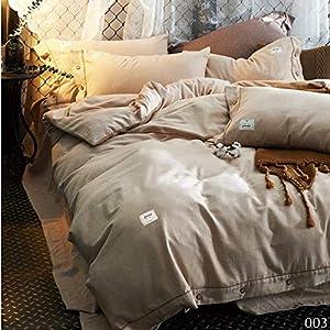 yaonuli Cepillado y cálido de Cuatro Piezas de algodón de Color sólido Textiles para el hogar MFM 003 Cama de 1,8 m (6 pies)