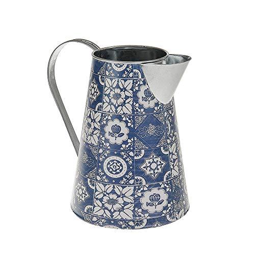 Desconocido Jarra de Metal con diseño de Azulejos de Morocán, Color Azul y Blanco, Estilo Vintage, tamaño pequeño 15...