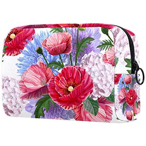 Poppy Chrysant Pattern Cosmetic Bag Makeup Pouch Case Organizer for Travel Portable Toiletry Purse for Girls, Women