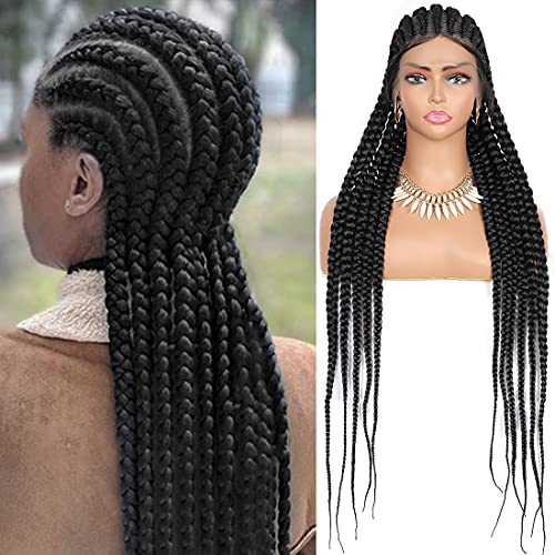"""Lexqui 35"""" Full Lace Front Feed-In Box Braided Cornrow Twisted Braids Synthetic Lace Frontal Black Wigs with Baby Hair for Women"""