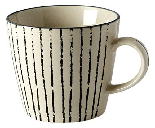 Fill Geometrie 1Set 4Stück Tassen aus Steinzeug, Keramik, Creme/schwarz, 10x 10x 8cm