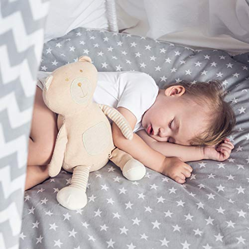 For Your Little One Jersey Fitted Sheet Compatible with Tutti Bambini Cozee Bedside Crib 55x90cm - 4X Grey with White Stars