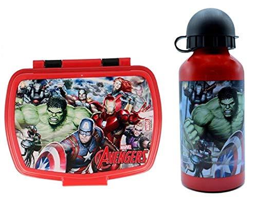 CM Set Botella de Agua de Aluminio Infantil y Fiambrera para Colocar los almuerzos - para niñas, cantimplora a Prueba de Fugas sin BPA 400ml (Verde-AVEN)