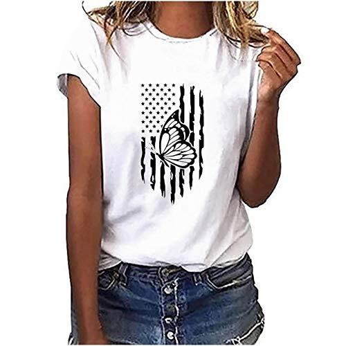 YANFANG Camisetas Mujer Manga Corta básica,Moda Mujer O-Cuello Camiseta de Manga Corta Estampado de Plumas Casual Top tee Blusa Deportivo,Fitness,devertidas, 8-Blanco,XXL