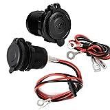 2PCS Presa Accendisigari Auto 12V / 24V DC, Adattatore Universale Impermeabile per Accendisigari, con Fusibile e Cavo di Collegamento da 0.6m per Navi, Auto, Moto
