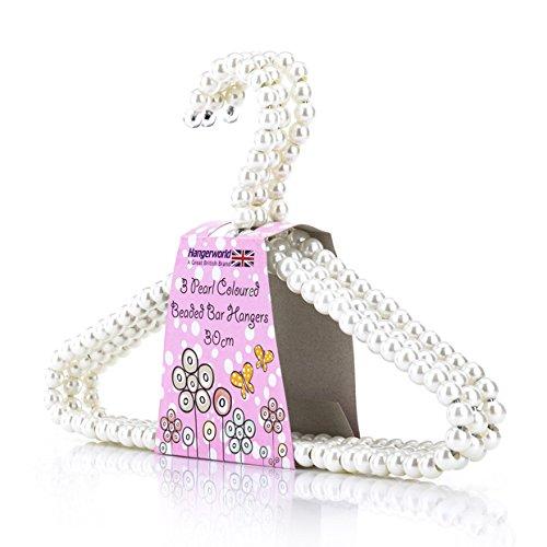 HANGERWORLD 6 Grucce Appendiabiti per Bambini 30cm Rivestite con Perle Bianche con Asta per...