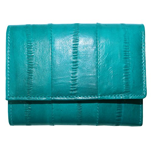 Genuine Eel Skin Leather Trifold Small Wallet Credit Card Wallet Coin Purse (Dark teal)
