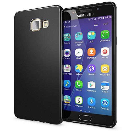 NALIA Custodia compatibile con Samsung Galaxy A5 2016, Cover Protezione Ultra-Slim Case Resistente Protettiva Cellulare in Silicone Gel, Gomma Morbido Bumper Copertura Sottile - Matte Nero